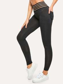 Cut Out Pocket Back Leggings