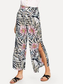 Floral Print Split Side Wide Leg Pants