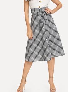 Self Tie Waist Single Breasted Skirt