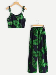 Plant Print Spaghetti Strap Two-piece Outfit