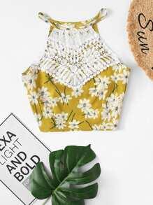 Lace Panel Floral Print Halter Top