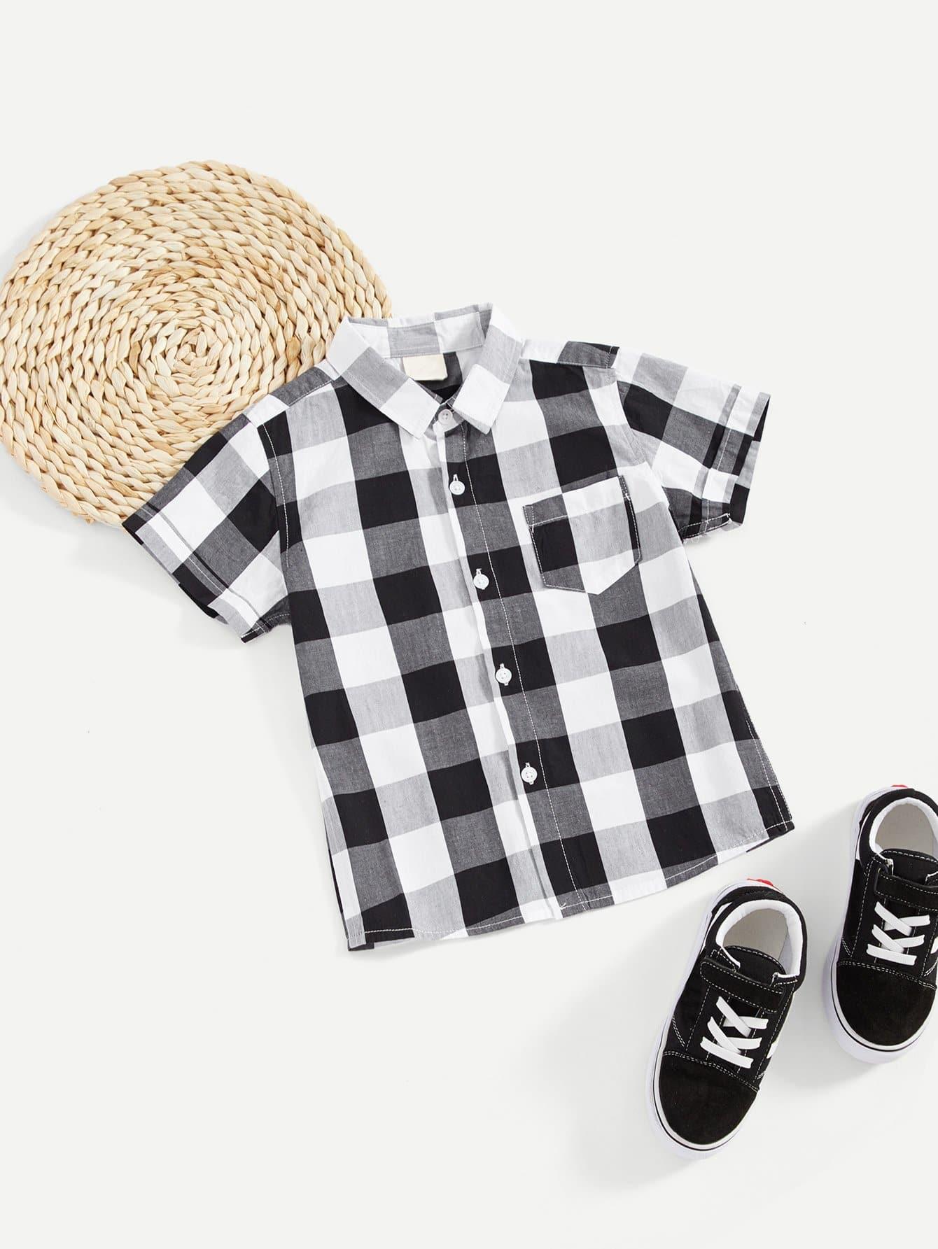 Купить Рубашка в клетку с украшением кармана для мальчика, null, SheIn