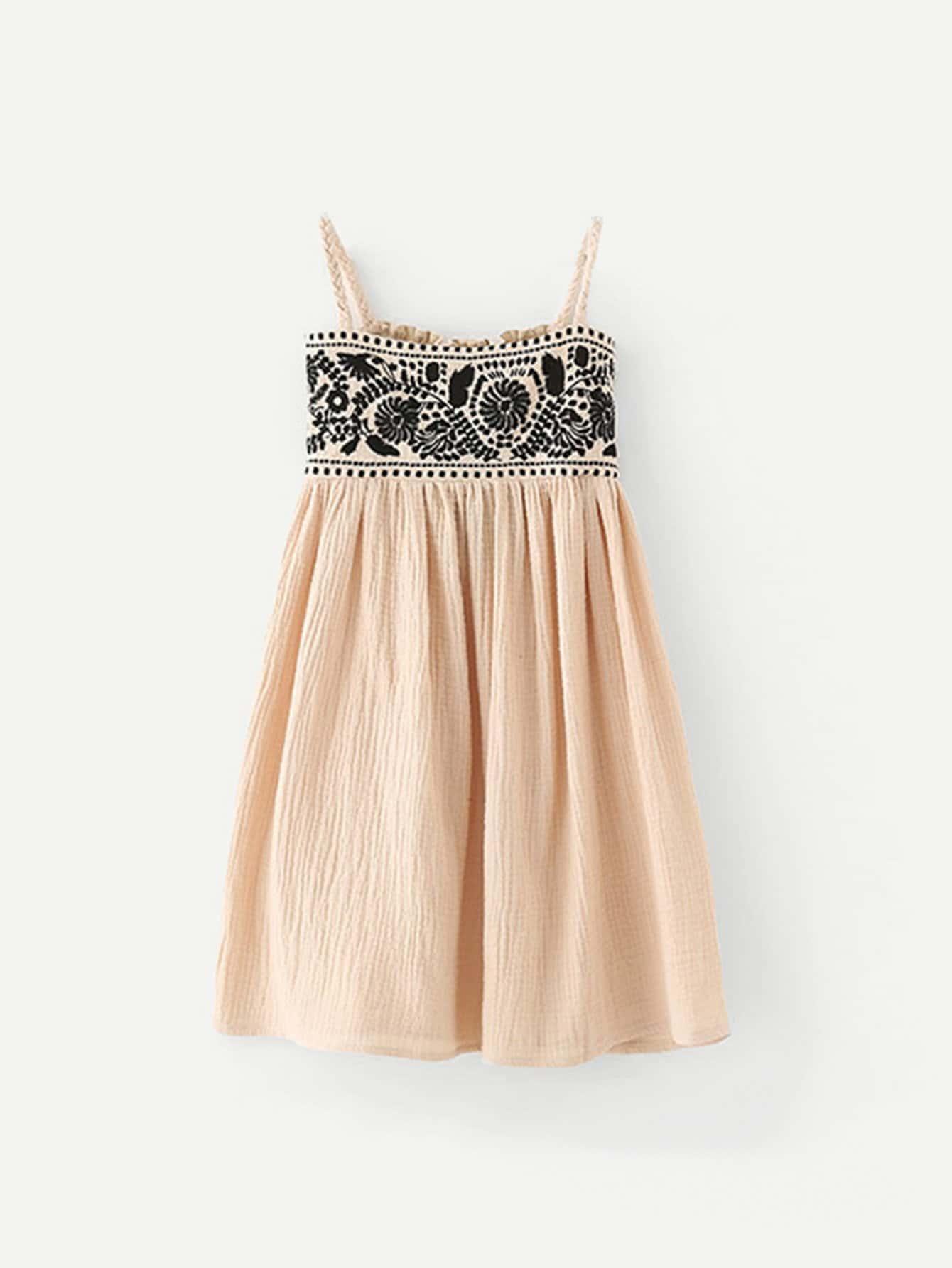 Купить Платье на бретелях с украшением вышивк для девочки, null, SheIn