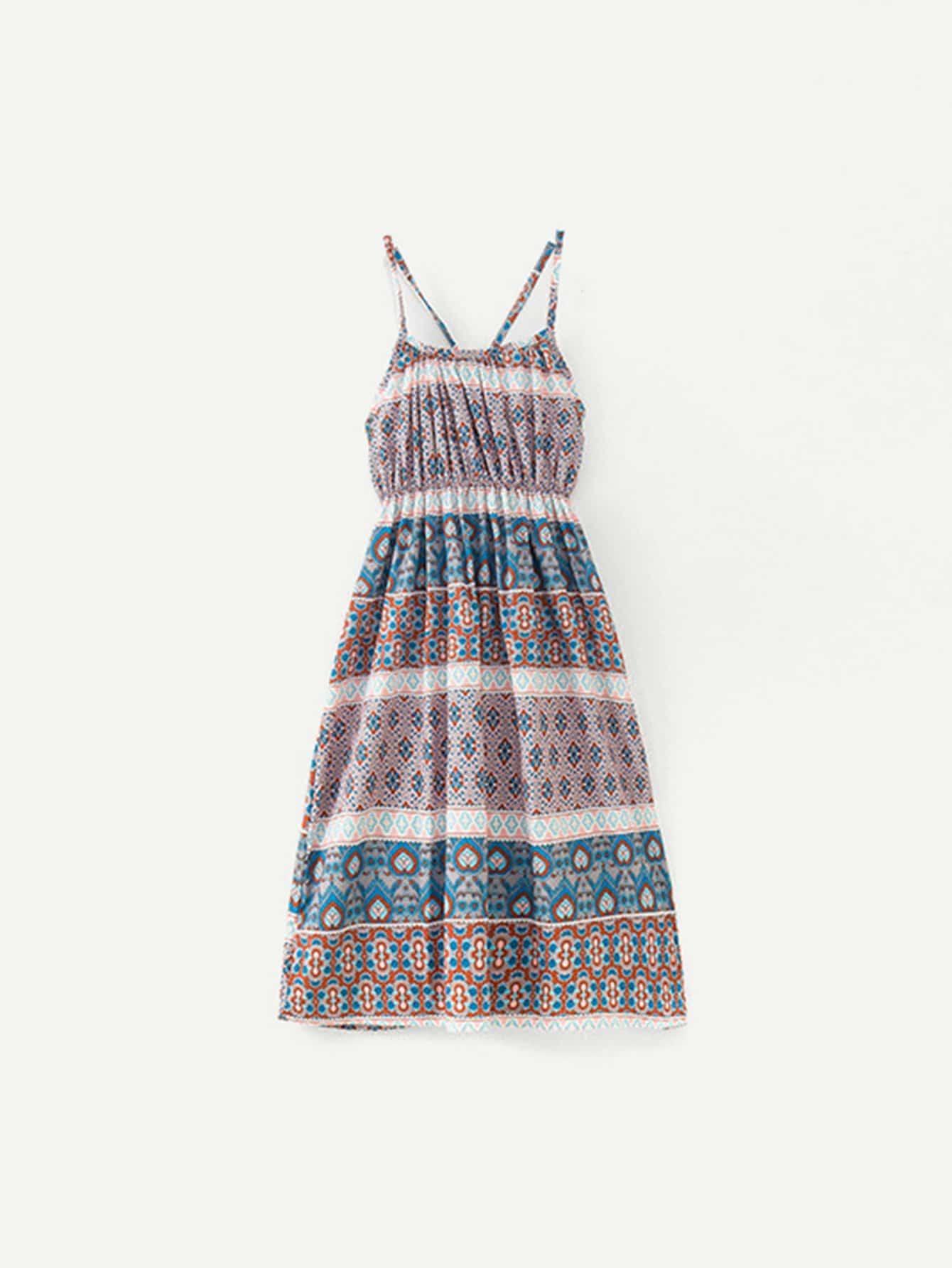 Купить Платье на бретелях с рисунками геометрий для девочки, null, SheIn