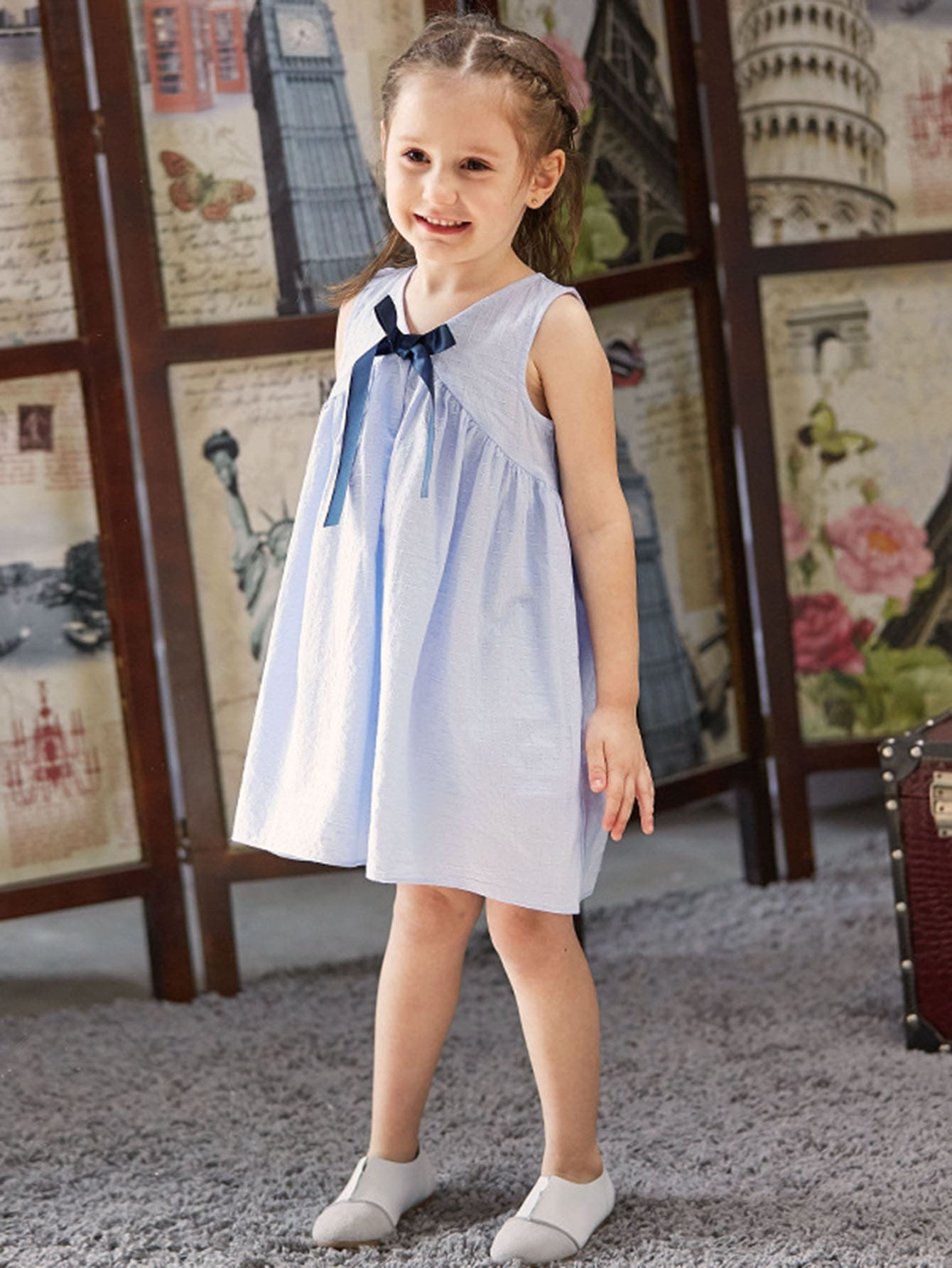 Girls Bow Front Sleeveless Dress 2017 new brand baby girls summer dress kids white bow dress for girls children navy leisure fashion girls clothes