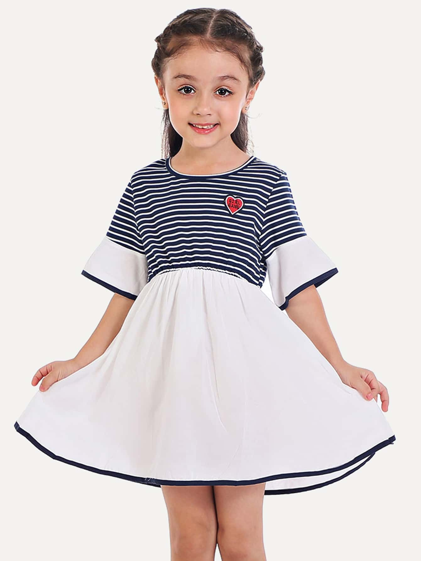 Girls Striped Flounce Sleeve Dress flounce sleeve striped denim dress