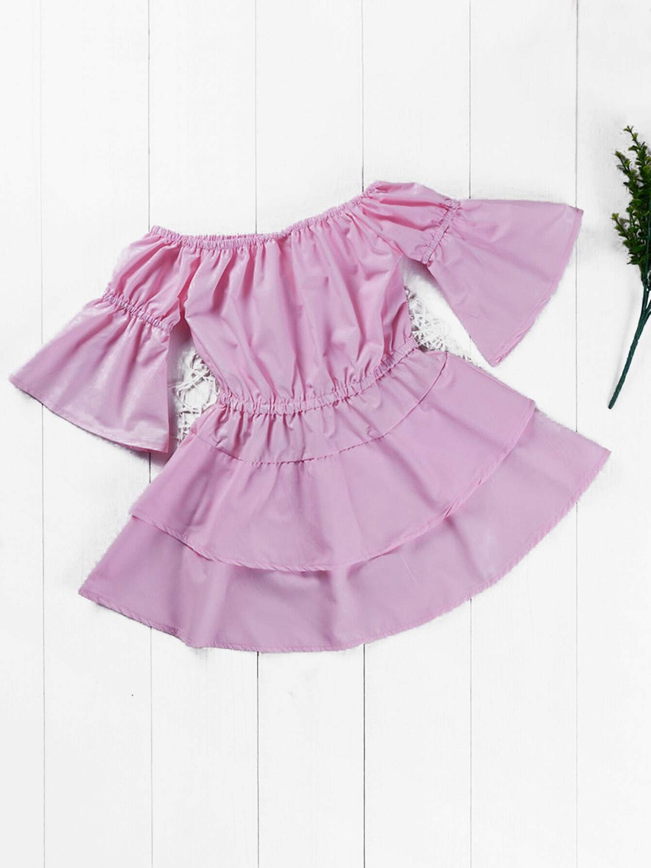 все цены на Girls Plain Tiered Hem Dress