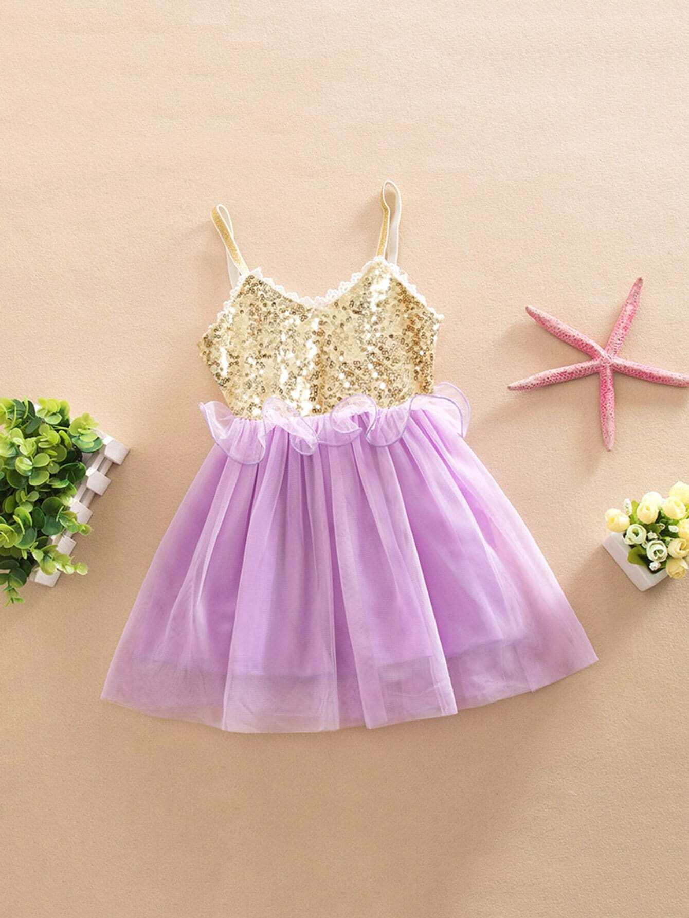Girls Contrast Sequin Mesh Cami Dress pui hing 350mg 30 3