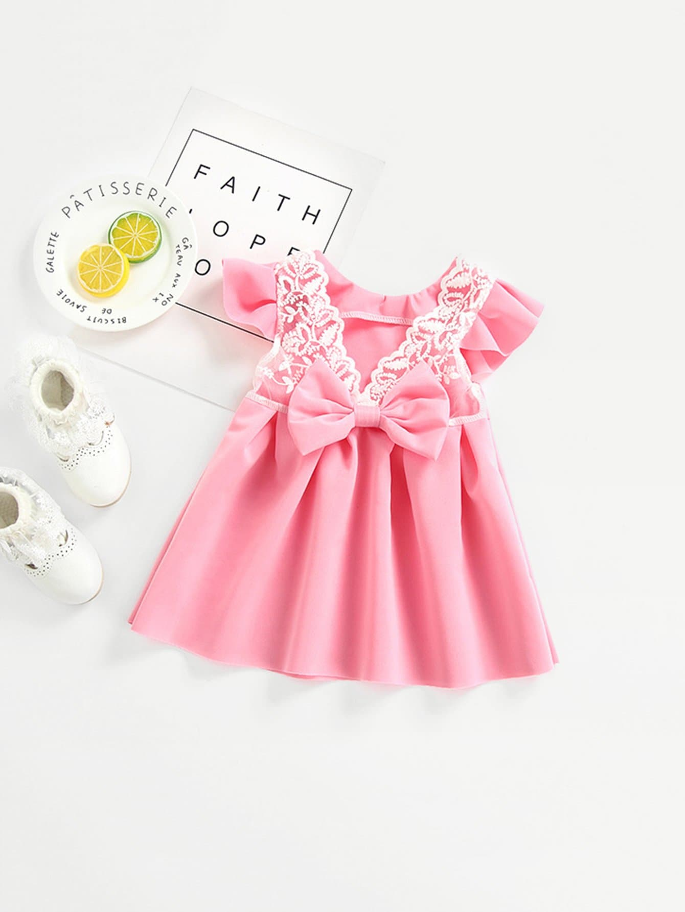 Girls Lace Contrast Bow Box Pleated Dress