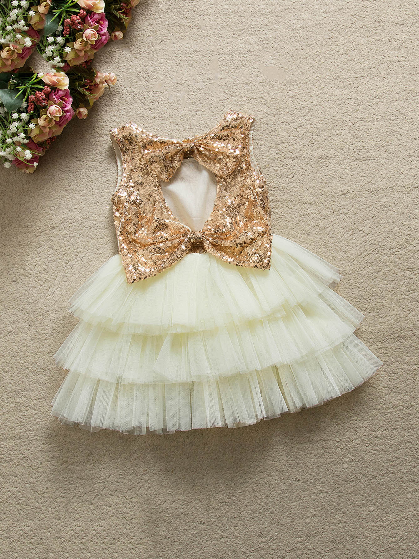 Girls Contrast Sequin Bow Ball Gown Dress 2017 new cute golden sequined flower girl dresses baby little girls ball gowns dresses with big bow for one year birthday dress