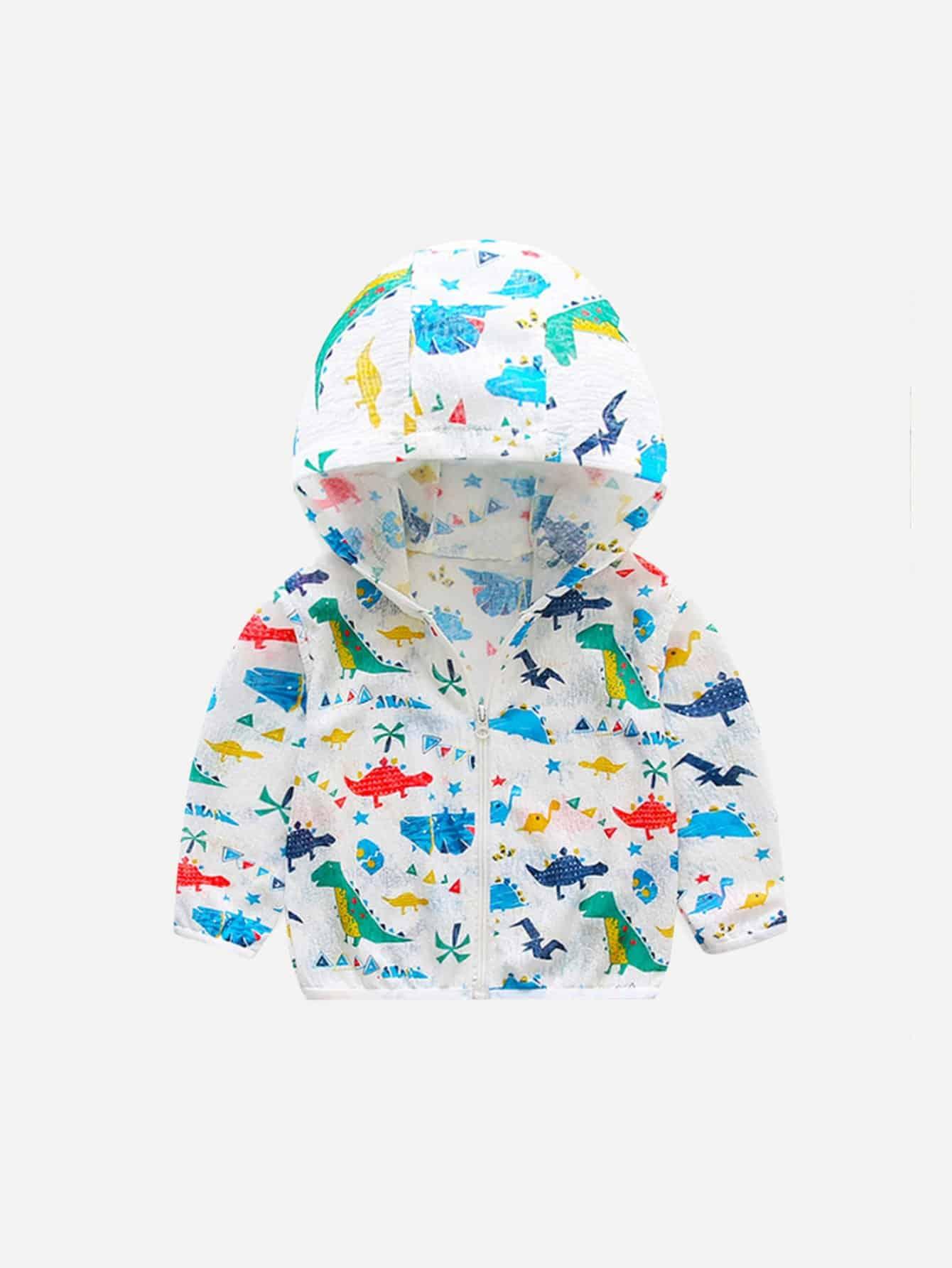 Мальчиков Печать Динозавр С Капюшоном Куртка