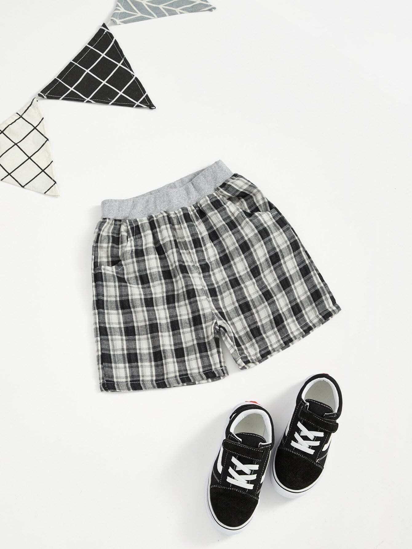 Купить Полосатые шорты в клетку с басоном эластичным для мальчика, null, SheIn