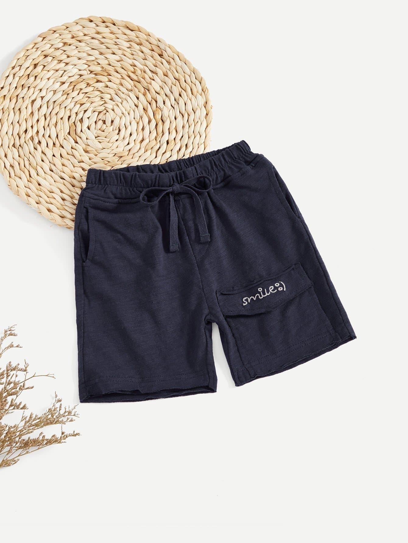 все цены на Boys Letter Print Drawstring Shorts