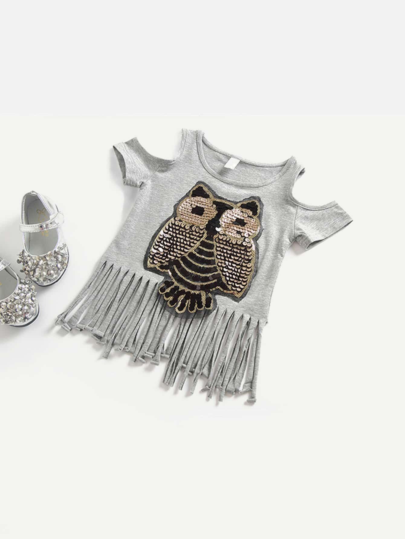 Купить Полосатая футболка с рисунками сов для девочки, null, SheIn