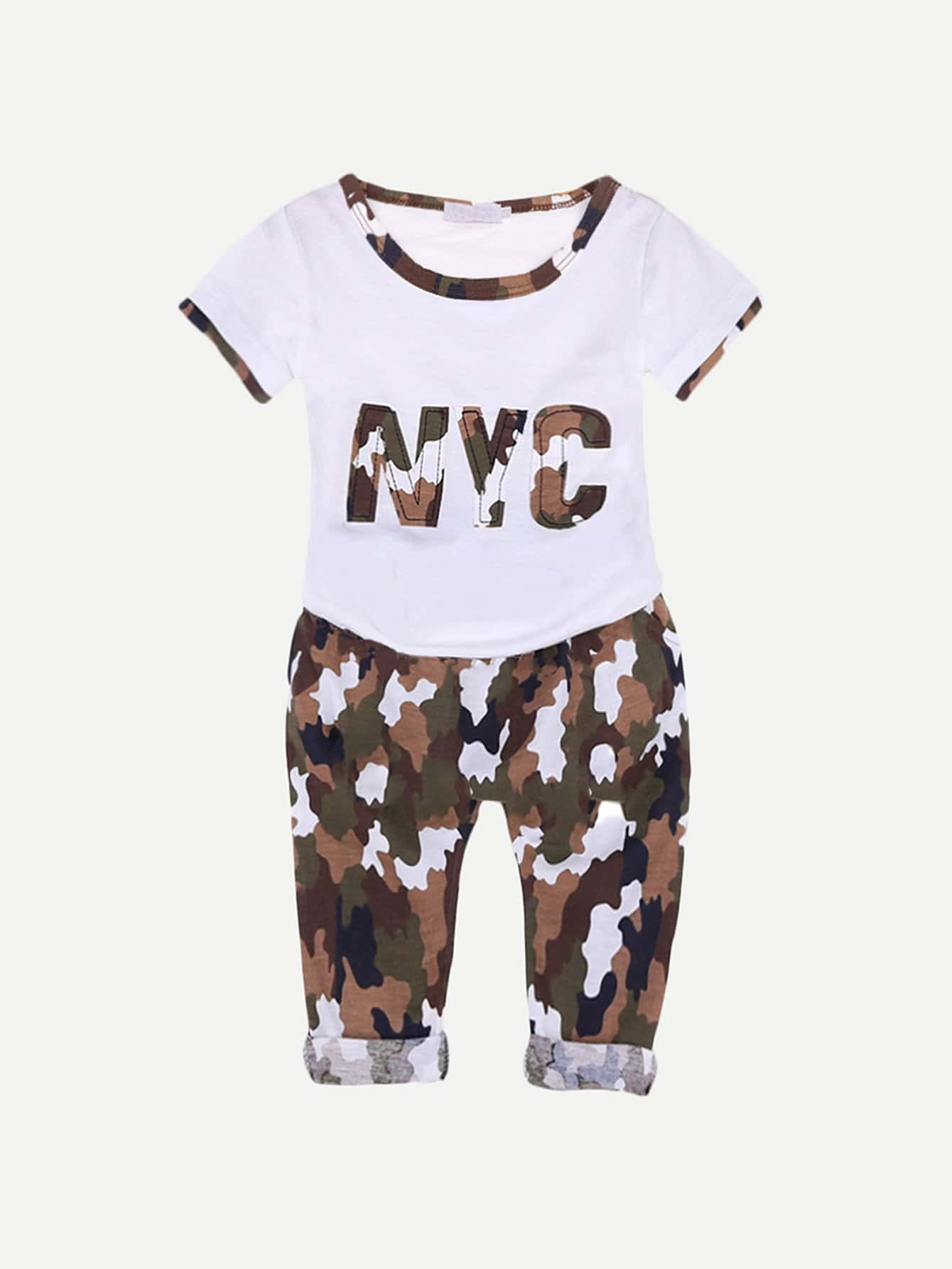 Boys Letter Print Tee With Camo Drawstring Pants kids letter print sleeveless tee with tropical print pants