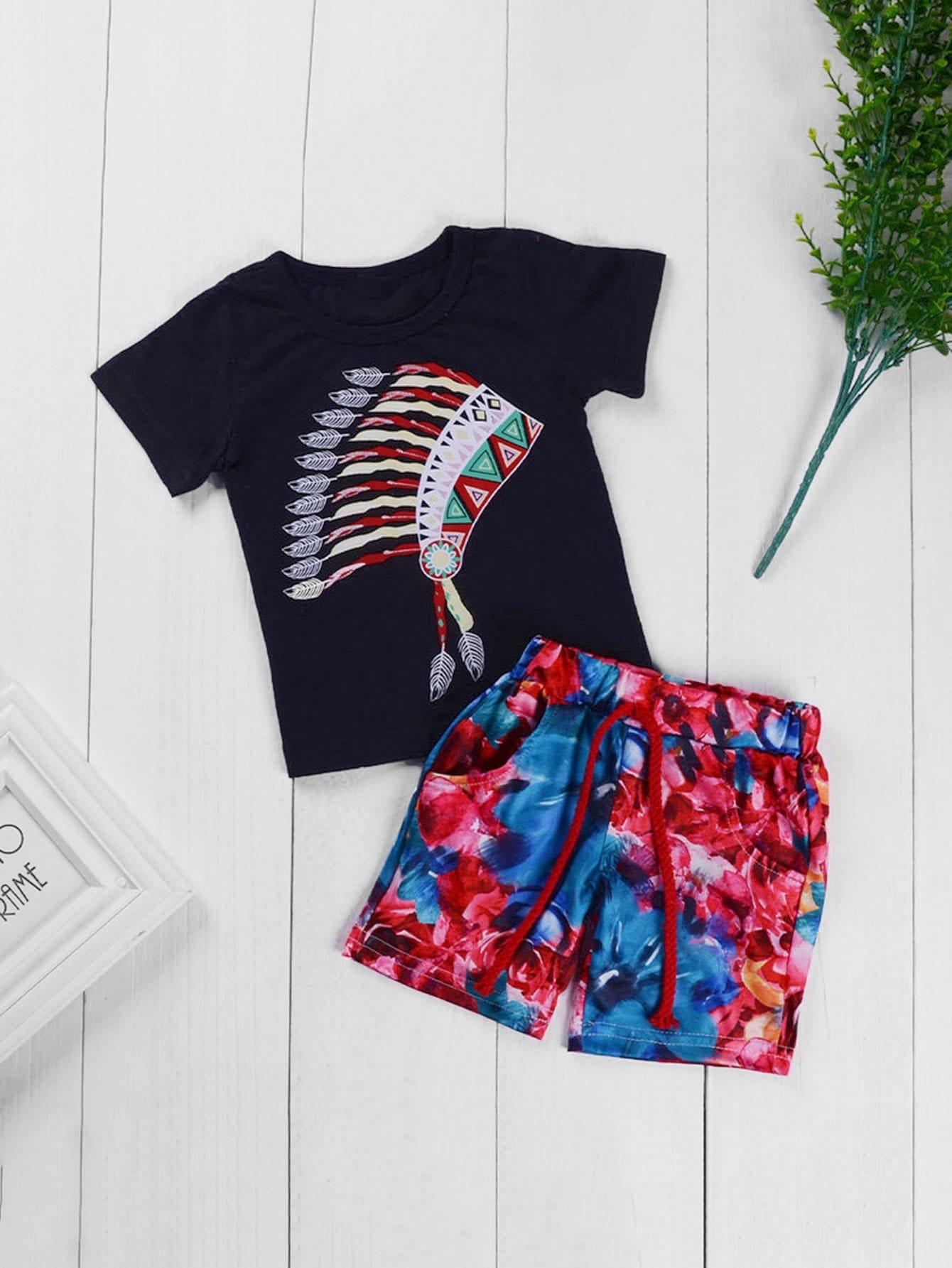 Купить Футболка с рисунками перьев и ситцевые шорты с басоном эластичным для мальчика, null, SheIn