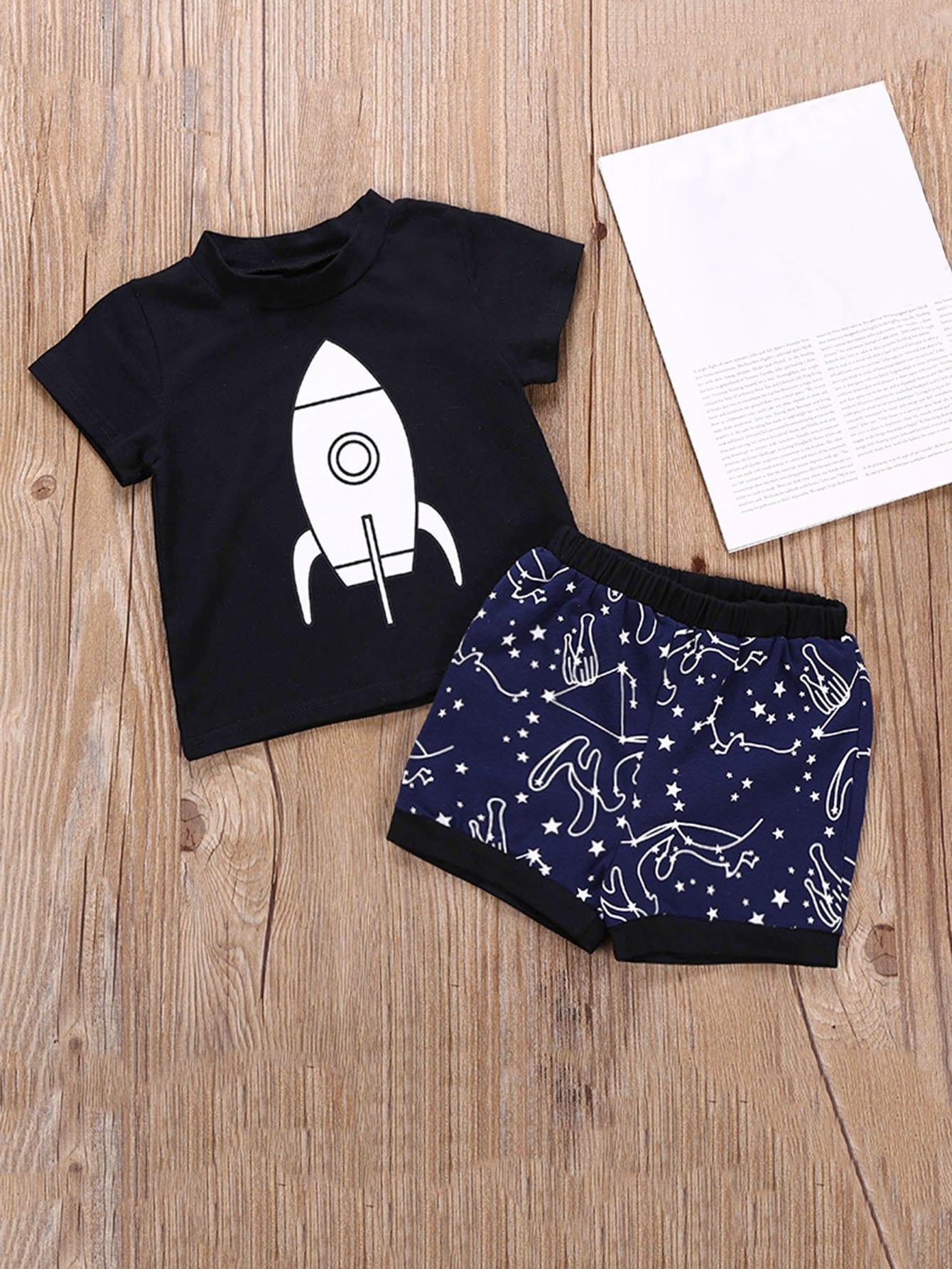 Купить Футболка с рисунками ракеты и шорты с рисунками галактики для мальчика, null, SheIn