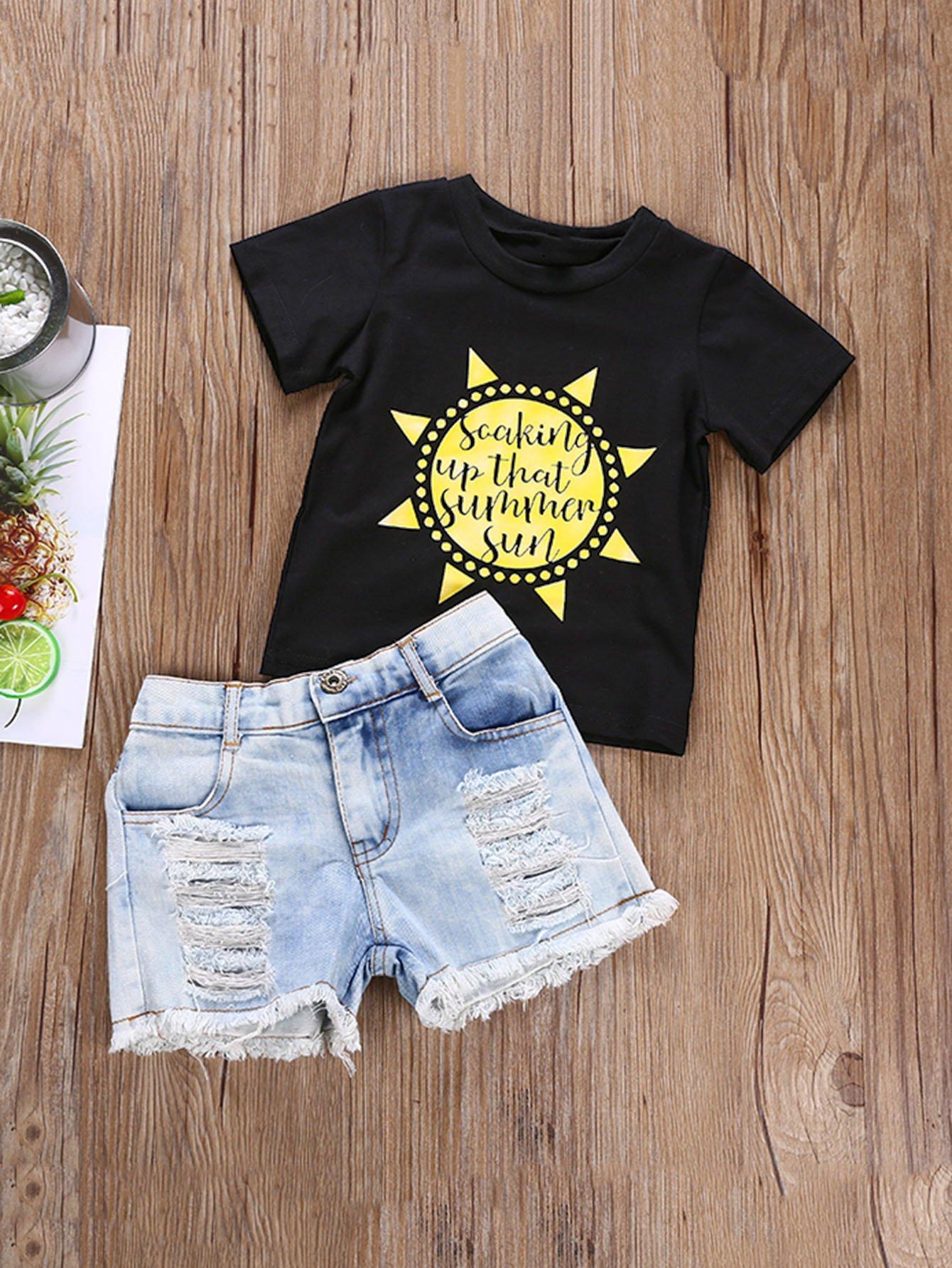 Girls Sunflower Print Tee With Destroyed Denim Shorts sunflower print crop tee