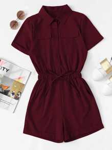 Single Breasted Collar Pocket Knot Jumpsuit