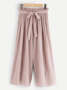 Tie Waist Wide Leg Solid Pants