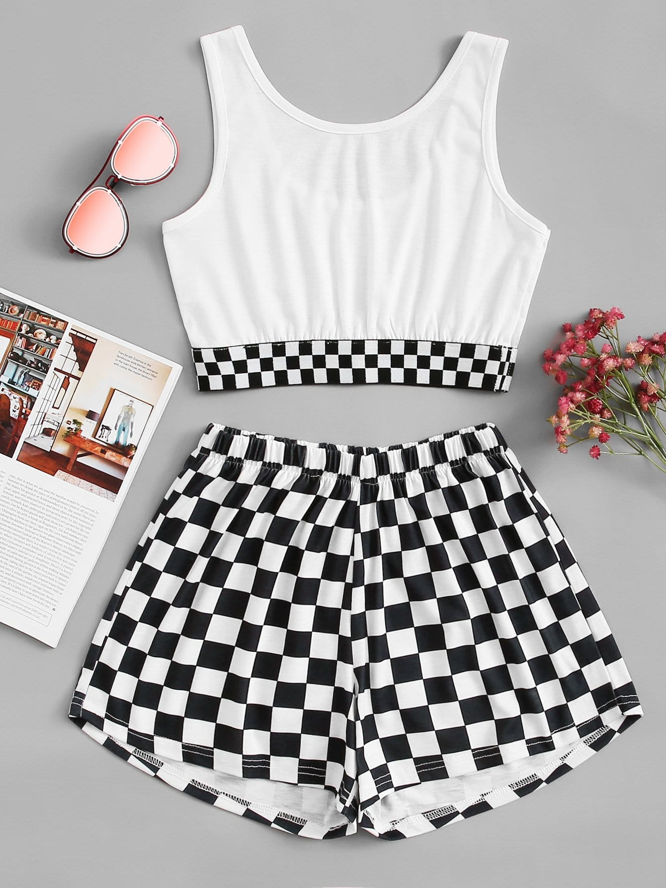 Gingham Crop Top With Shorts black choker sleeveless crop top