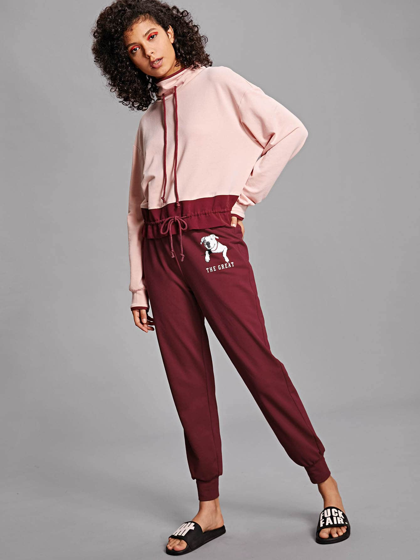 Letter and Animal Print Drawstring Waist Pants