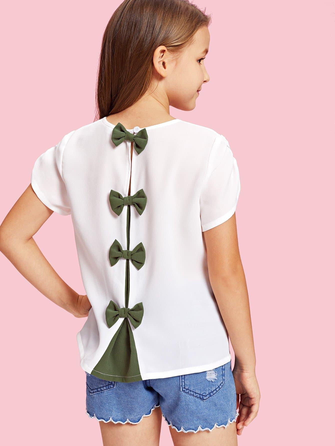 Купить Блузка с украшением пуговиц и банта для девочки, null, SheIn