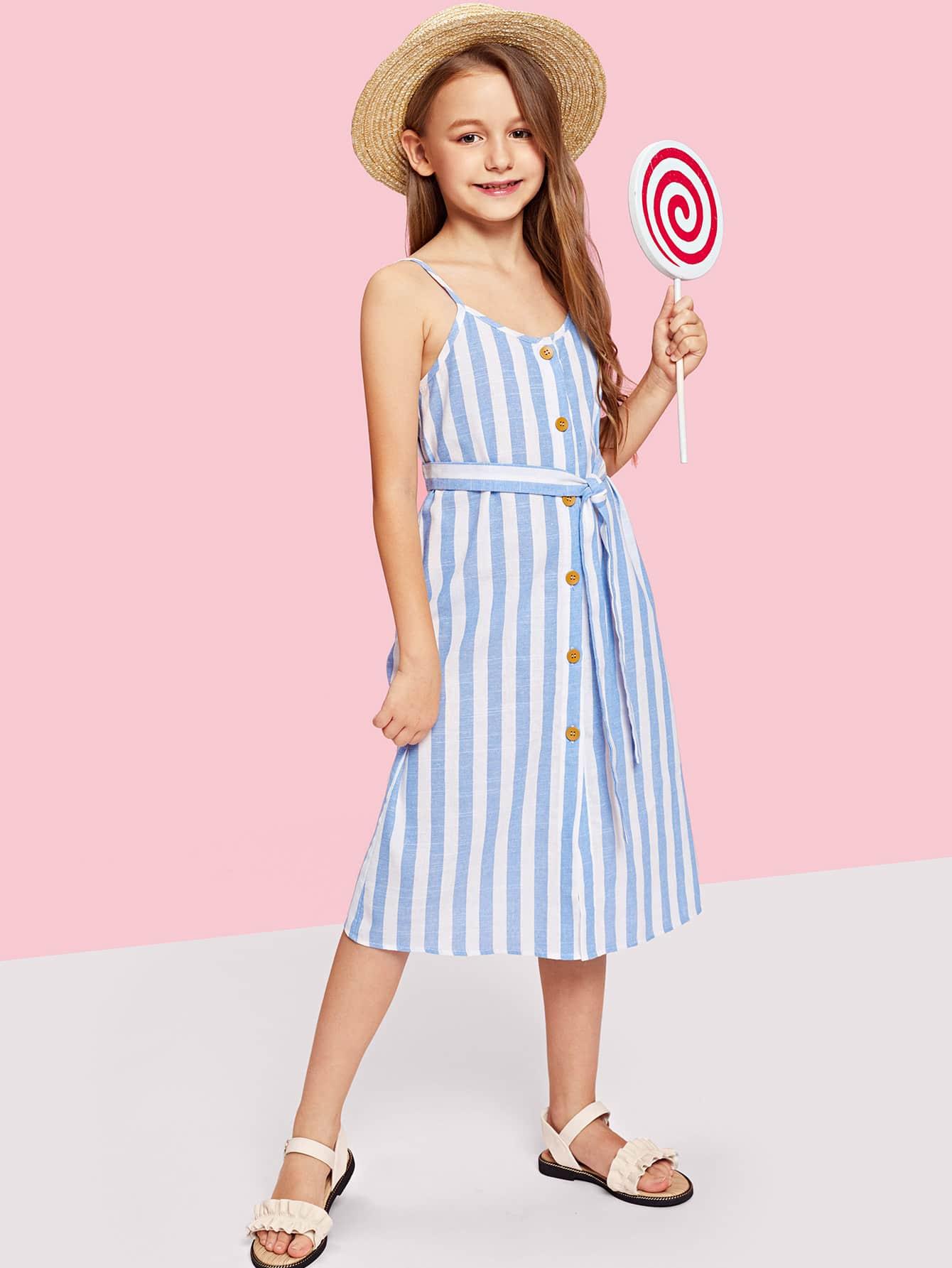 Купить Полосатая платье с украшением пуговиц и пояса для девочки, null, SheIn