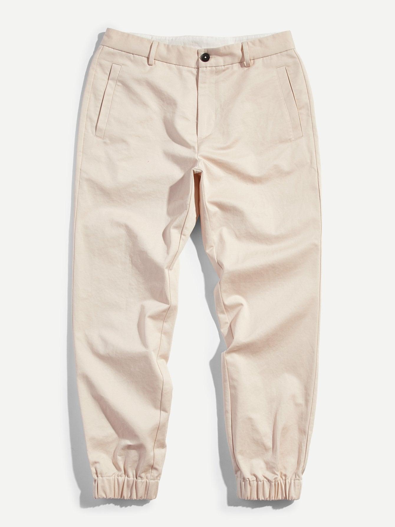 Купить Эластичнческие брюки с украшением пуговиц для мужчины, null, SheIn