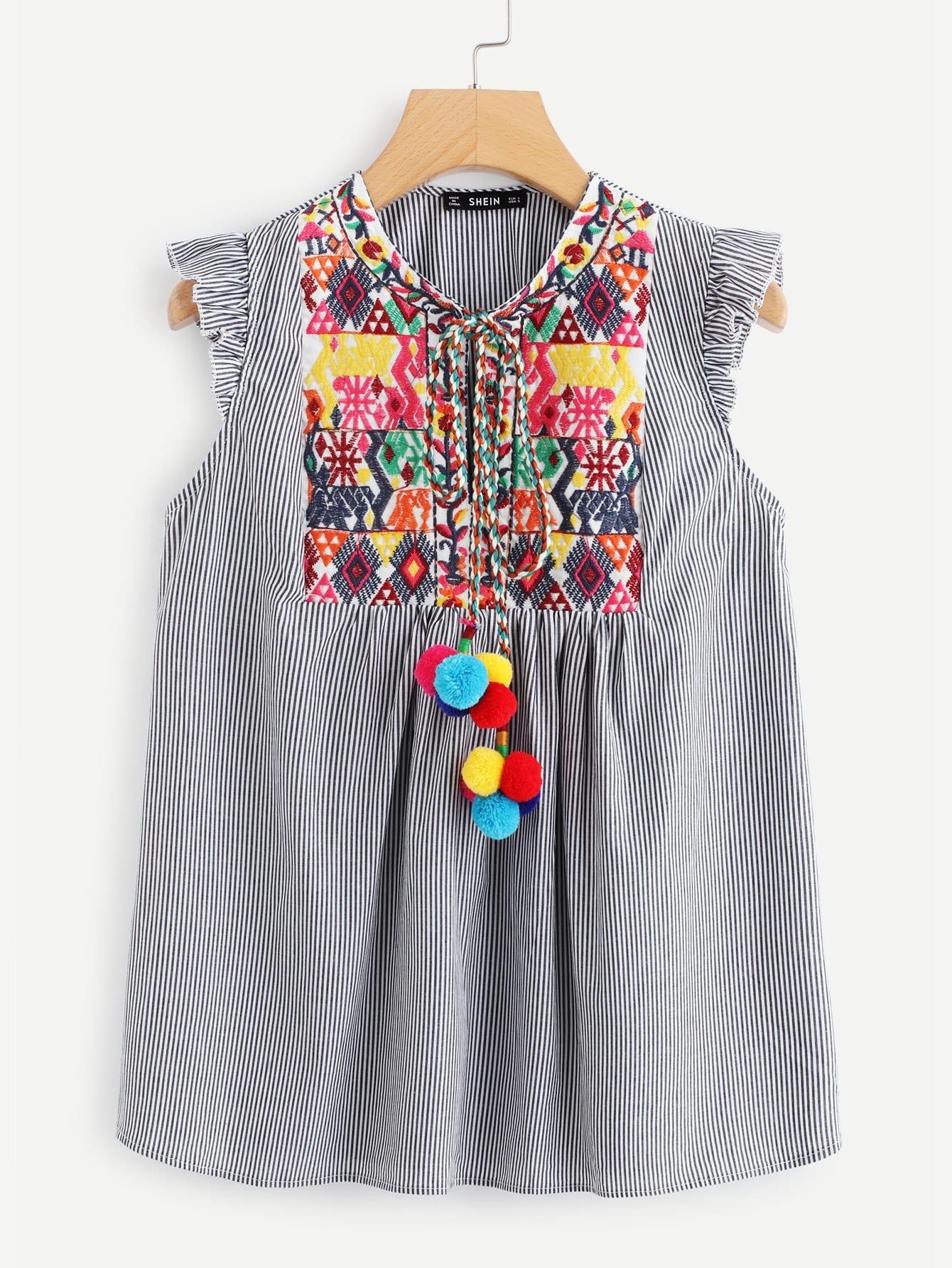 Pompom Tie Neck Вышитая иговая полосатая блузка