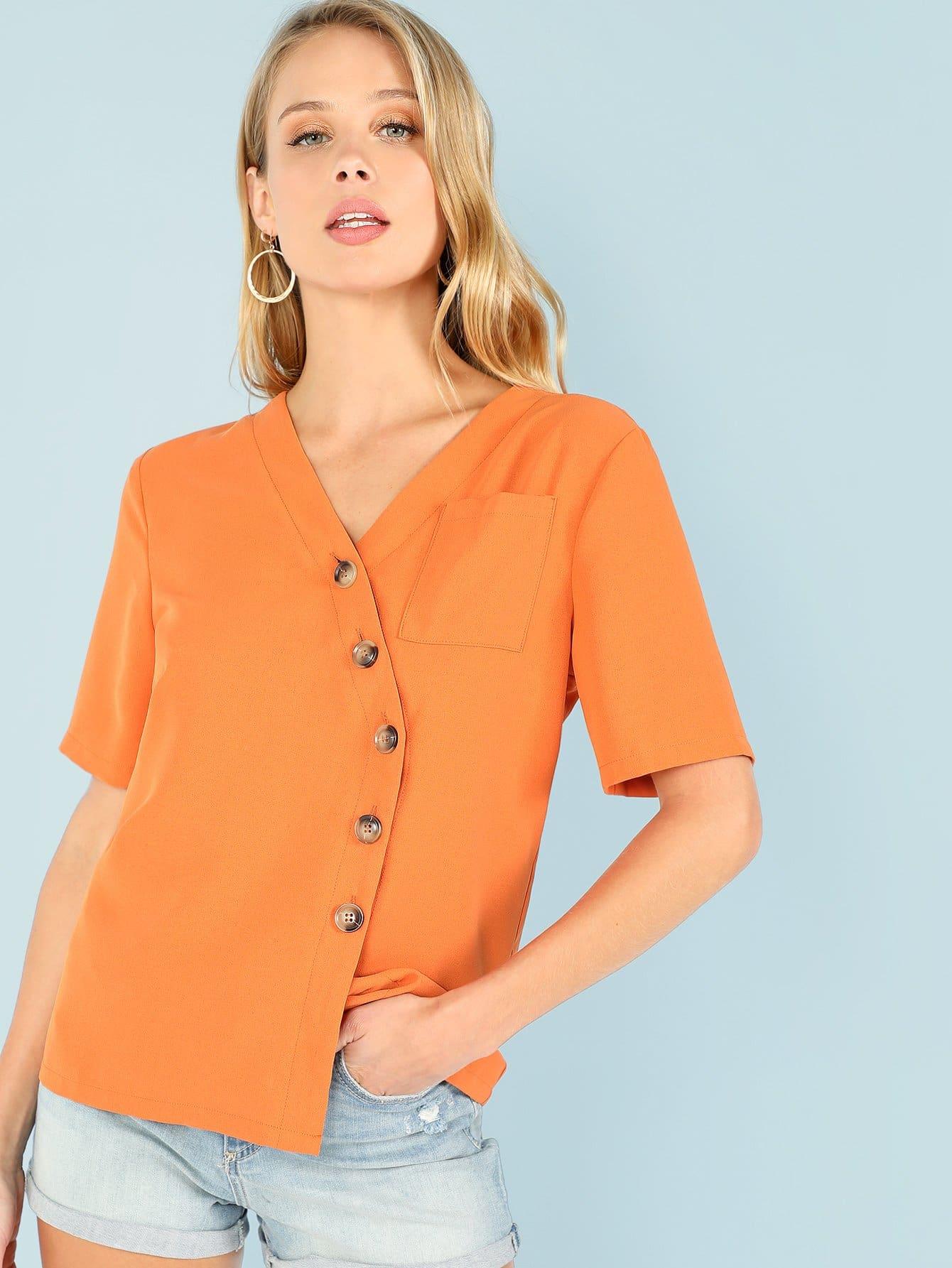 Купить Одиночная карманная асимметричная рубашка в клетке, Allie Leggett, SheIn