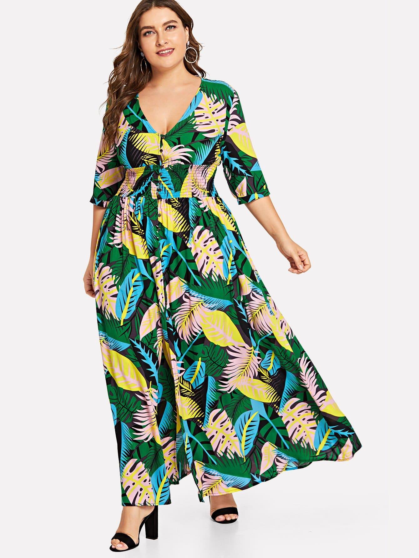Купить Платье талии из джунглей, Franziska, SheIn