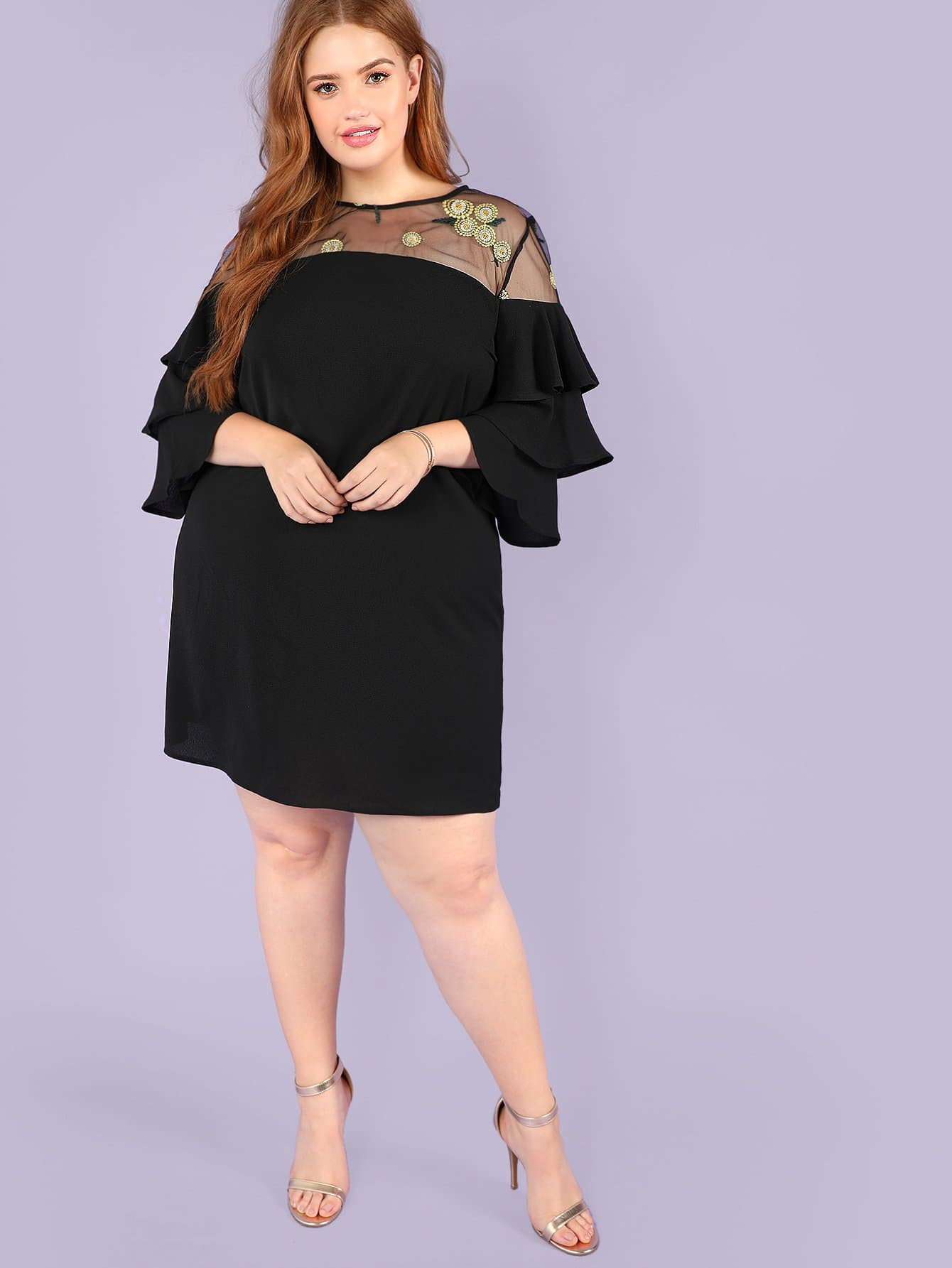 Plus Mesh Insert Layered Bell Sleeve Dress bell sleeve lace insert mini party dress