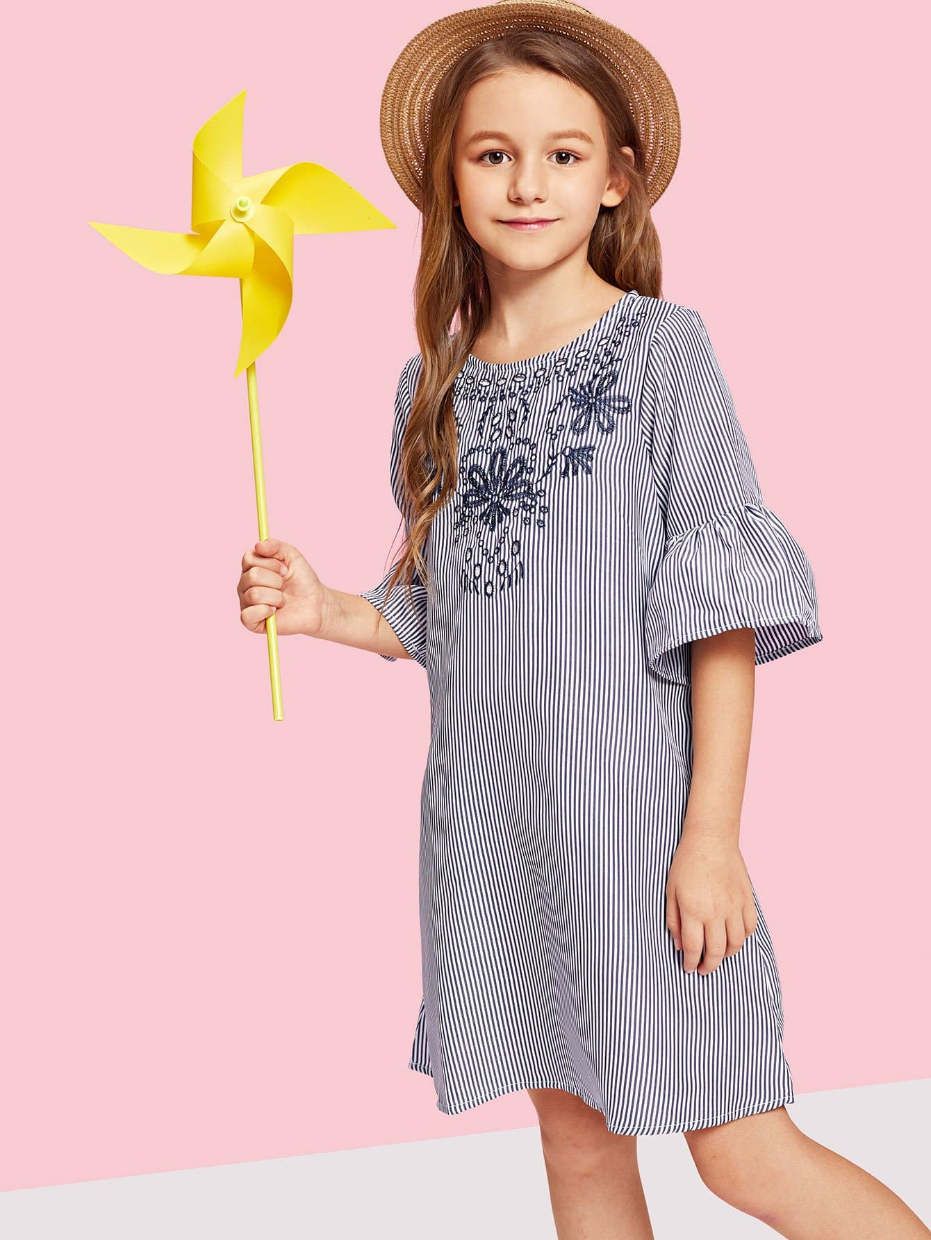 Girls Bell Sleeve Eyelet Embroidered Striped Dress