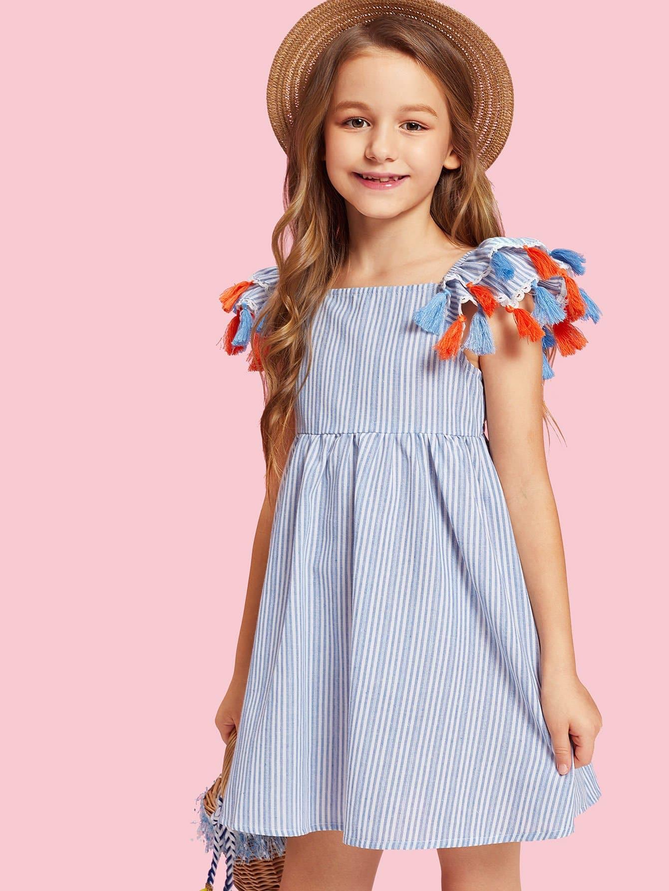 Girls Tassel Trim Layered Ruffle Striped Dress layered ruffle trim satin wrap dress