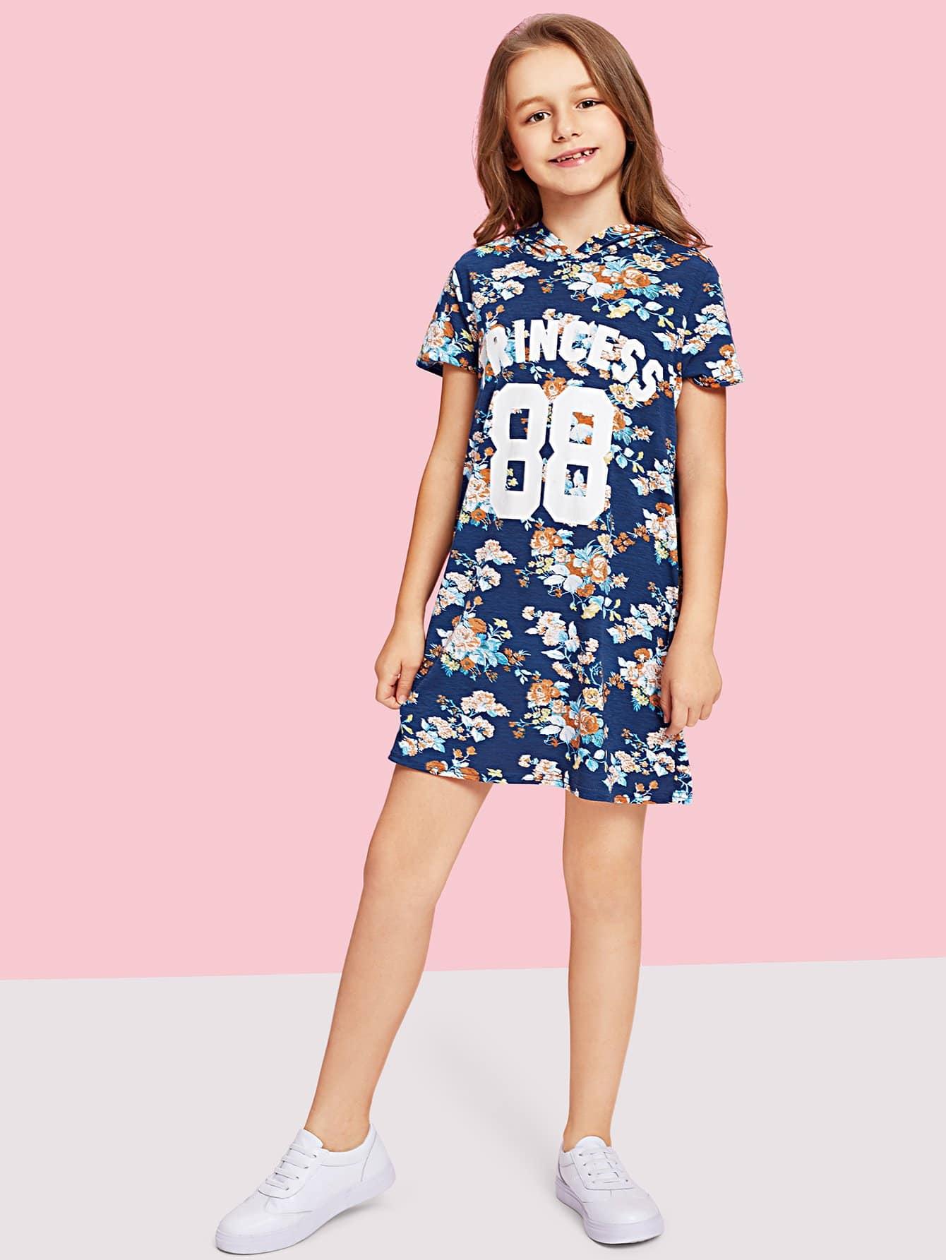 Купить Письменное и цветочное платье с капюшоном для печати, null, SheIn
