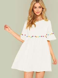 Pompom Trim Flounce Sleeve Smock Dress
