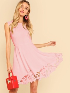 Laser Cut Fit and Flare Dress
