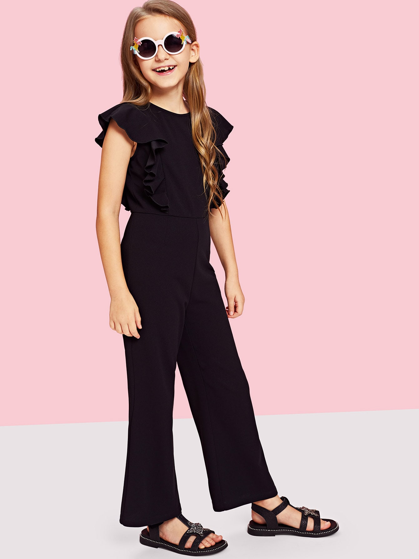Girls Ruffle Trim Zip Back Round Neck Jumpsuit code гайка alloy 14mm чёрный 2шт