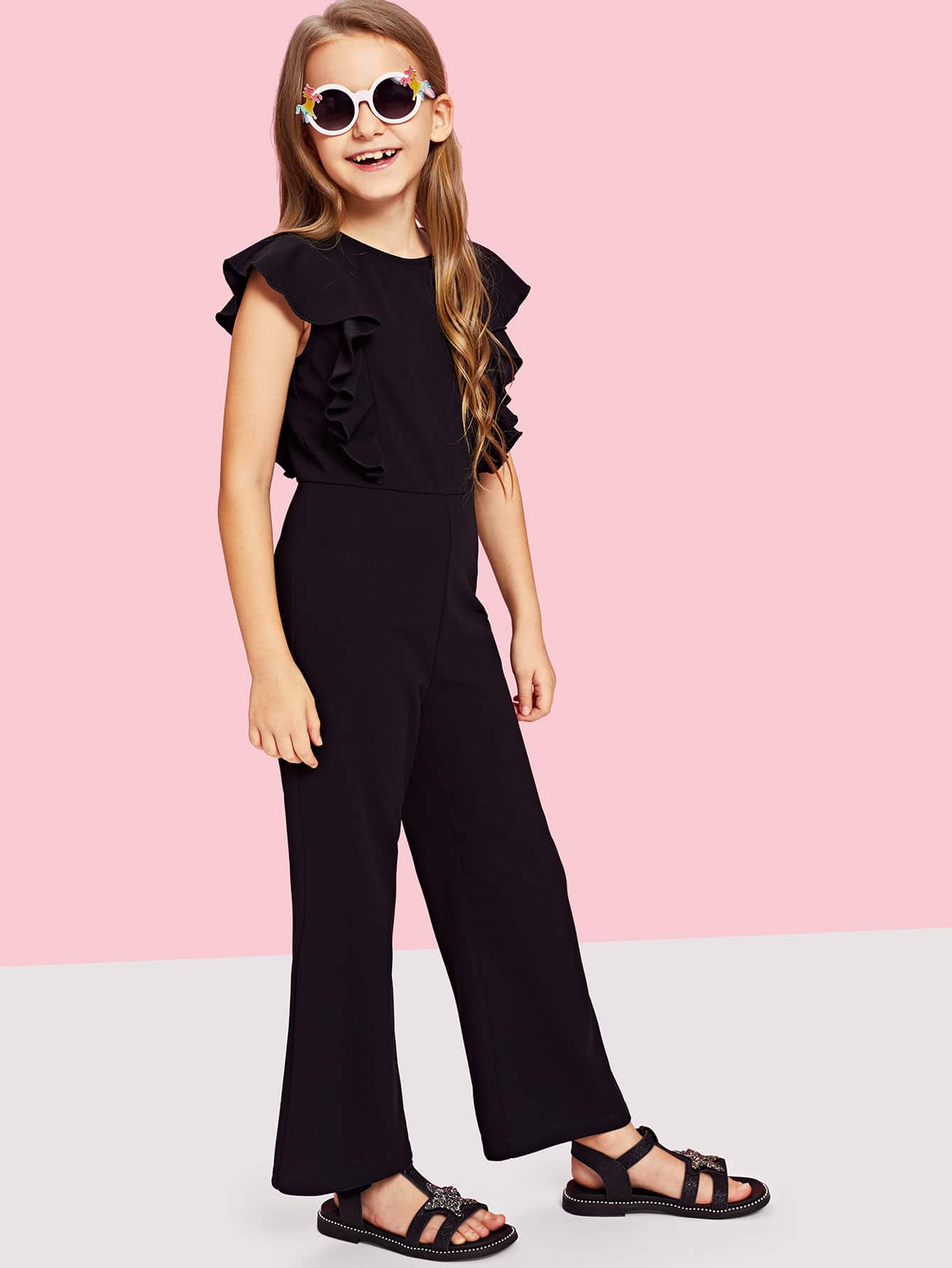 Girls Ruffle Trim Zip Back Round Neck Jumpsuit 31 век ar130