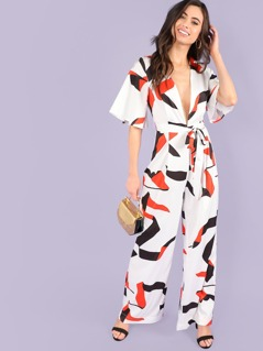 Plunging Neck Geo Print Belted Jumpsuit