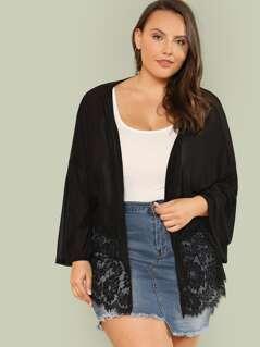 Plus Lace Hem Sheer Kimono