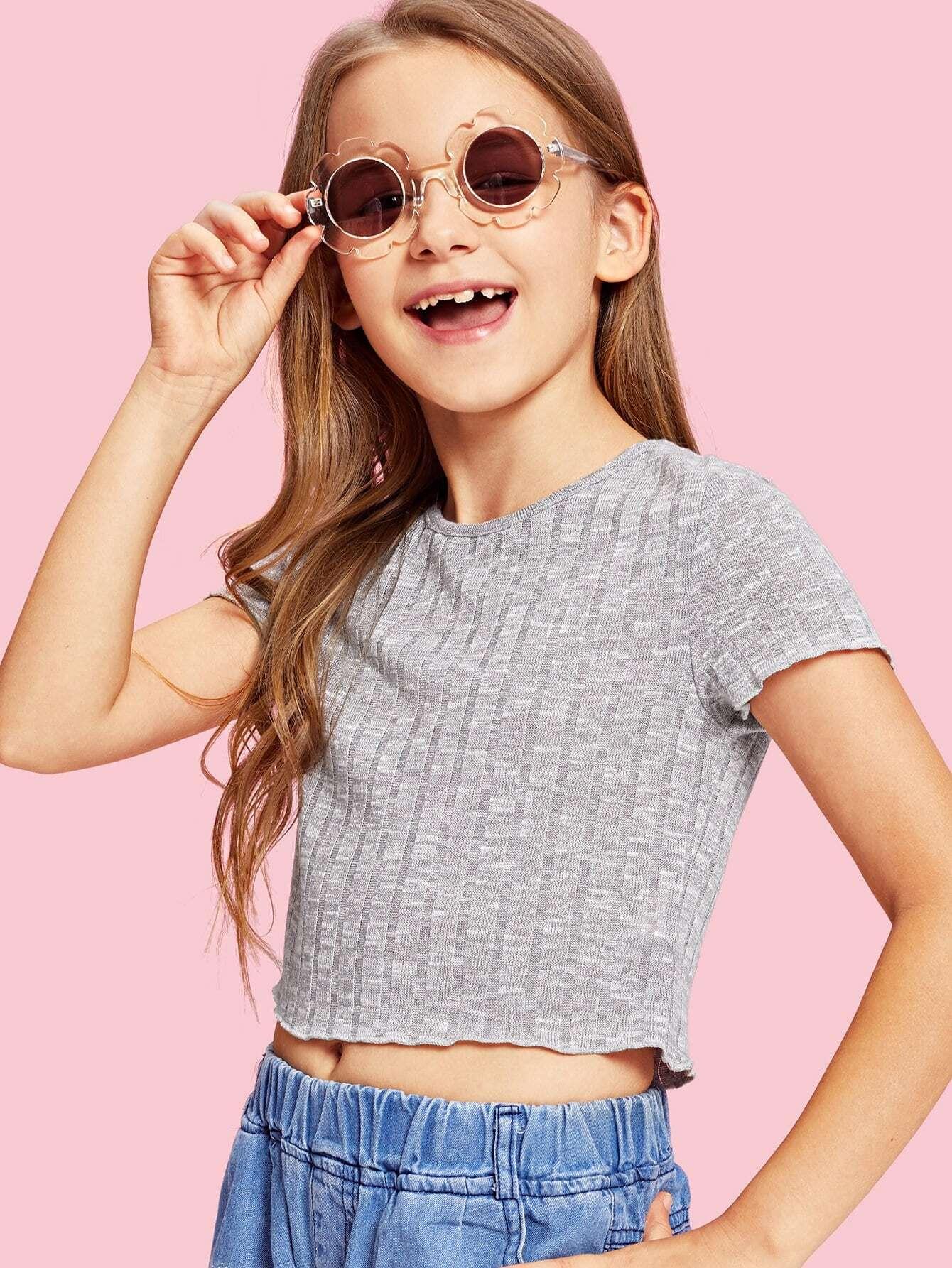 Girls Rib Knit Marled T-shirt rib knit tights