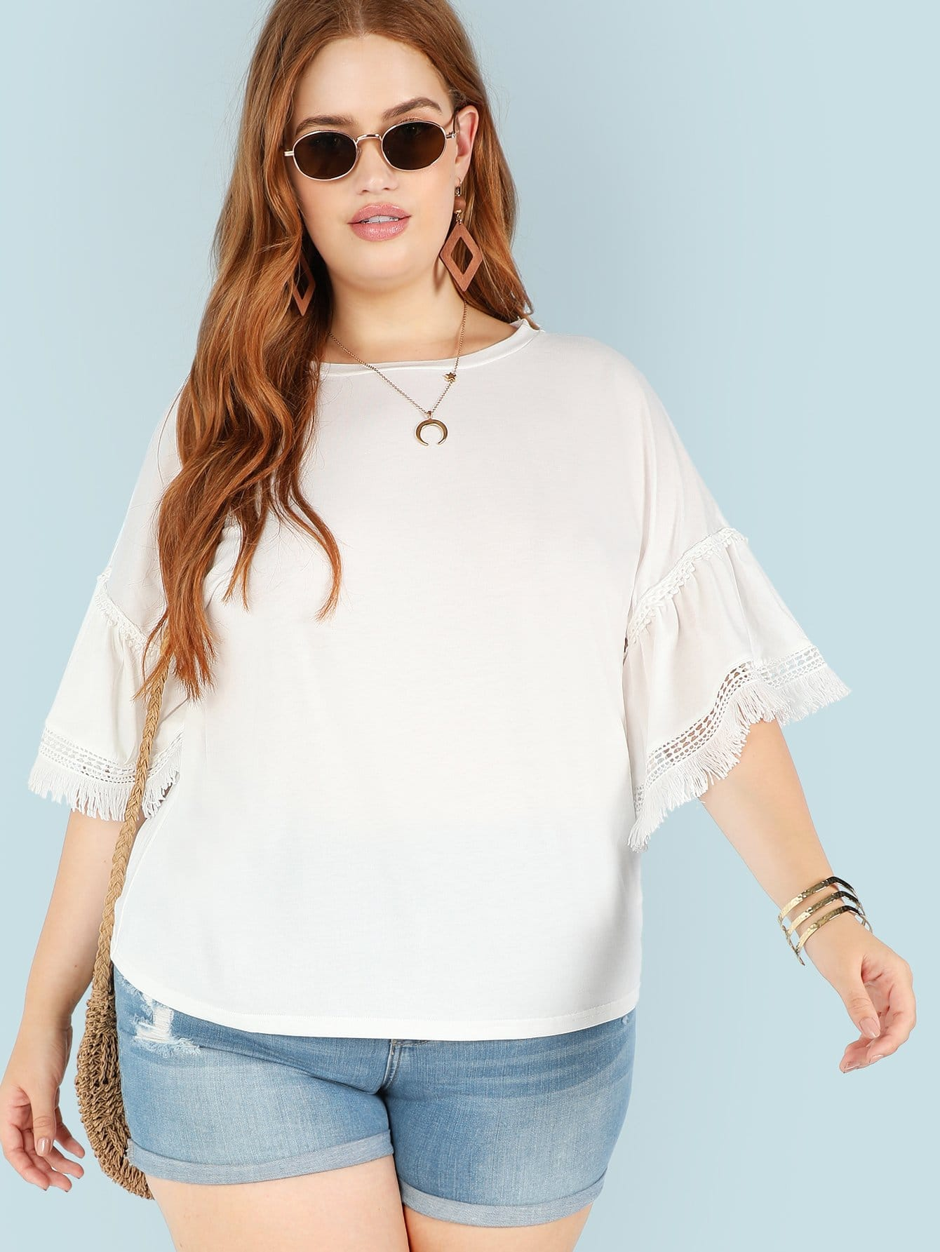 Plus Cut Out Detail Fringe Flounce Sleeve Tee велосипед centurion eve 60 27 2016