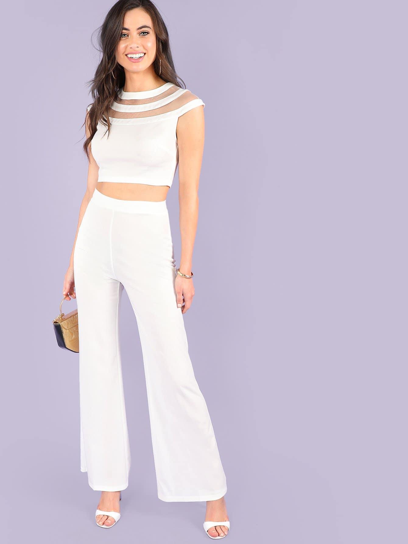 Contrast Mesh Crop Top & Wide Leg Pants Set black choker sleeveless crop top