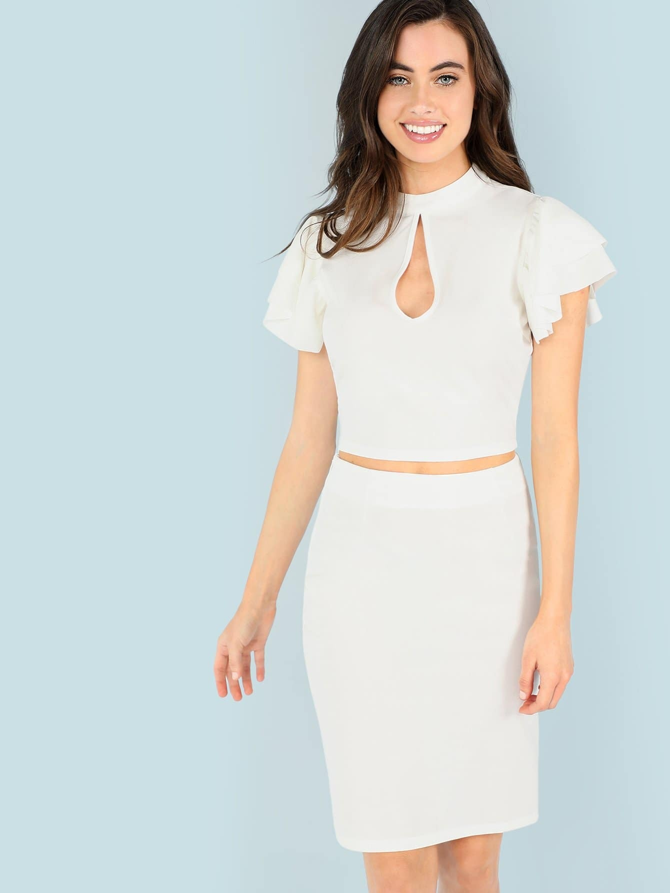 Cutout Front Flutter Sleeve Top & Skirts Co-Ord flutter sleeve twist front top and wide waist shorts set
