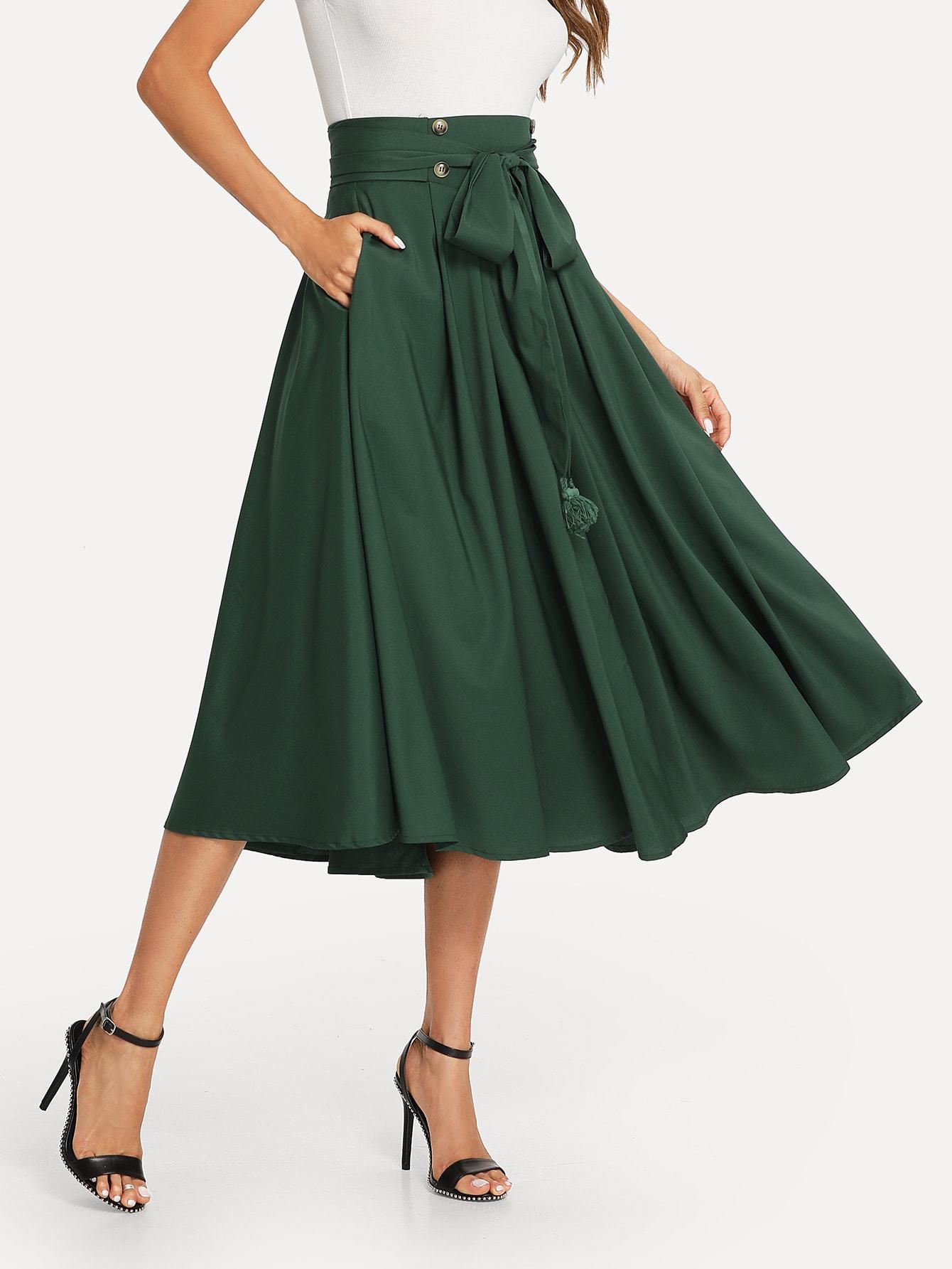 Купить Tassel Bow Tie Waist Карманная сторона Плиссированная юбка, Andy, SheIn