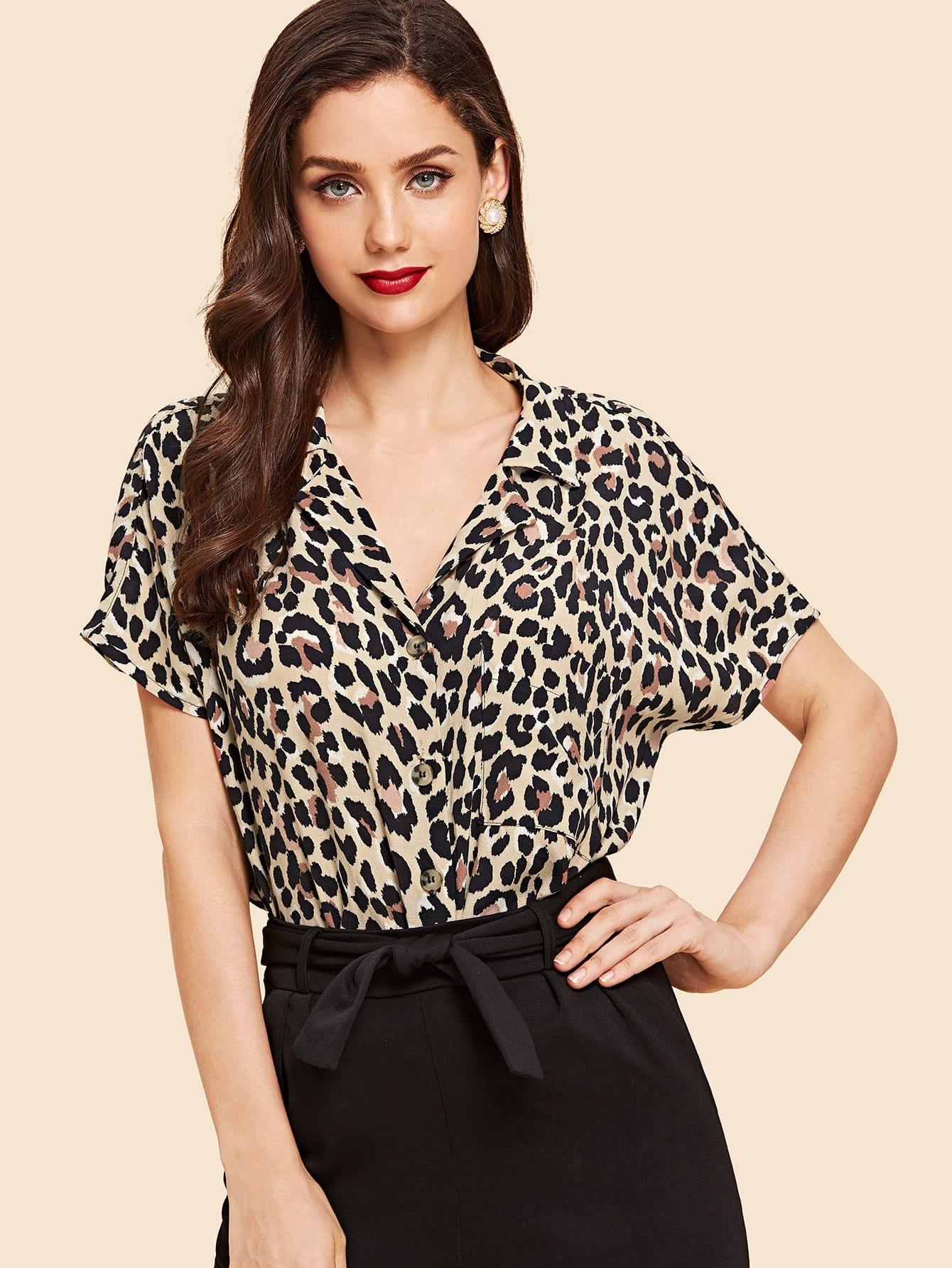 Леопардовая футболка в форме кожана, Julie H., SheIn  - купить со скидкой