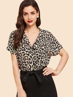 Notched Collar Leopard Print Batwing Shirt