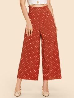 Shirred Waist Flare Hem Dot Pants